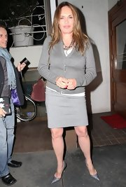 Catherine Bach sported a gray cardigan over a gray dress while dining out in Hollywood.