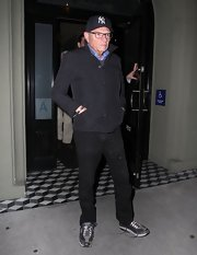 Larry King opted for a classic zip-up jacket with a popped collar for his look while out at Craig's Restaurant in Hollywood.