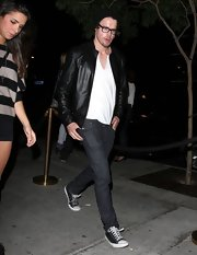 Chord chose a classic black leather jacket for his look while going out to Bootsy Bellows.