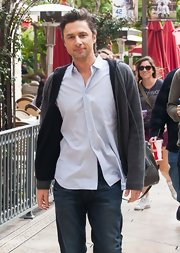 Zach Braff looked casual and comfy in a striped button down while leaving a filming of 'Extra.'