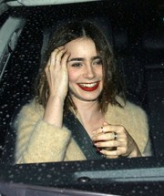 Lily Collins opted for a neutral shade for her nails.
