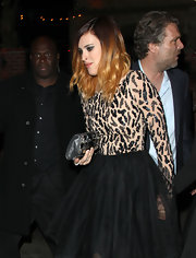 Rumer Willis' silver gemstone embellished clutch added even more sparkle to her sequin-adorned dress.