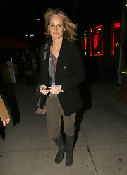 Helen hunt wears a classic pea coat while out in West Hollywood.