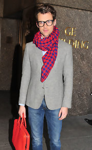 Brad Goreski wore this blue and red scarf with his heather gray suit for visiting the NBC studios in NYC.
