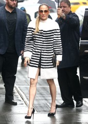 Jennifer Lopez arrived for her appearance on 'The View' wearing a nautical-striped rabbit fur coat by Marc Jacobs.