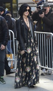 Rumer Willis sported a boho-meets-edgy look, consisting of a floral maxi dress and a black leather jacket, while out in New York City.