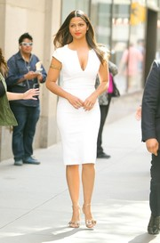 Camila Alves appeared on 'The Today Show' wearing a fitted white dress that showed off her amazing figure.