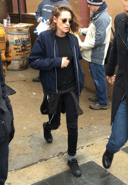 Kristen Stewart teamed black canvas sneakers with skinny jeans and a zip-up jacket for a day out in Park City, Utah.