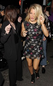Ellie Goulding wore a fun and chic star-embellished mini dress by Magda Butrym for her Grammy after-party look.