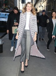 Laura Dern visited 'The Today Show' rocking a stylish patterned tweed coat by Thom Browne.
