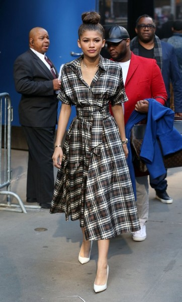 Zendaya Coleman looked effortlessly cool in a plaid wrap top by Michael Kors while visiting 'Good Morning America.'