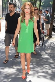 Alyssa Milano looked pretty in a green shift dress while out at the NBC studios.