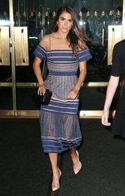 Nikki Reed was summer-chic in a mixed-pattern dress with a sheer yoke while visiting the 'Today' show.