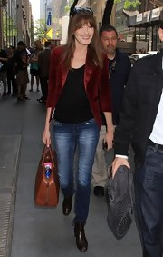 Carla chsoe a burgundy-colored blazer for a sophisticated look on 'The Today Show.'