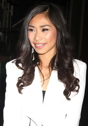 Jessica Sanchez's glowing cheeks and glossy pink lips kept her 'Live with Kelly' style girlish and age-appropriate.