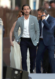 Shia LaBeouf looked dashing in his gray blazer, white button-down, and black slacks at the Cannes Film Festival.
