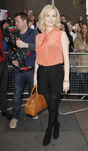 Amanda Holden looked peachy in a ladylike tie-neck blouse arriving at 'Britain's Got Talent' auditions in Edinburgh.