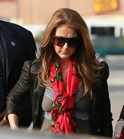 Singer Celine Dion donned a pair of oversized shades.