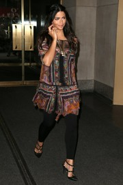 Camila Alves left the 'Today Show' wearing a printed shift dress and a pair of black leggings.