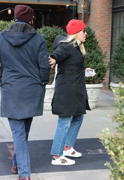 Busy Philipps stayed warm in a black down coat while out in New York City.