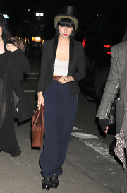 Lisa Origliasso was spotted at Mercedes Benz Fashion Week wearing a leather collared blazer.