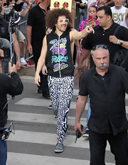DJ Redfoo rocked a pair of black-and-white leopard-print leggings at 'Le Grand Journal De Canal.'