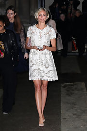Cameron Diaz looked sweet and youthful in a white dress for the Valentino Couture fashion show.