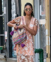 Chanel Iman took a stroll in New York City wearing hippie-chic shades.