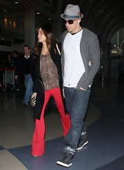 Jenna Dewan-Tatum doubled up on trends in a pair of cherry red flares.