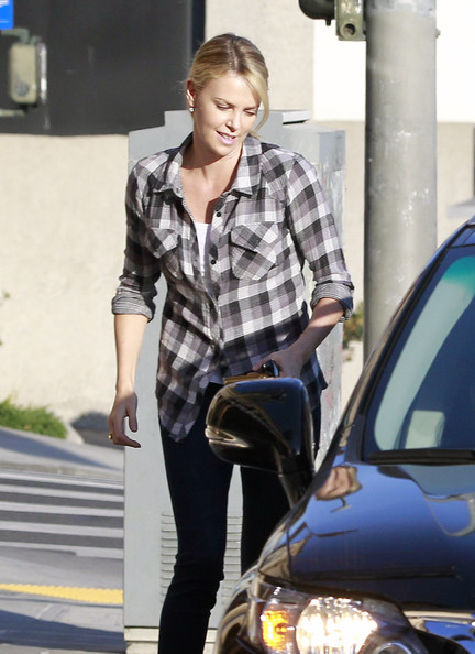 Charlize Theron Button Down Shirt