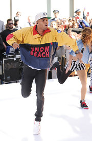 Chris Brown wore a baggy sweatshirt reminiscent of the '80s as he gave an energy-filled performance in New York.
