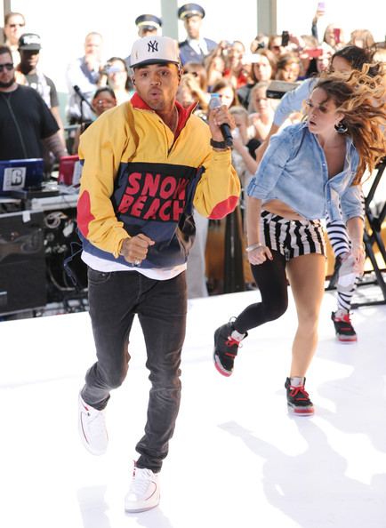 A sleek pair of sneakers helped Chris Brown show off some complicated dance moves to the audience at Rockefeller Center.