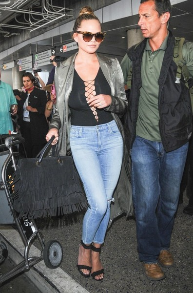 Chrissy Teigen Ripped Jeans