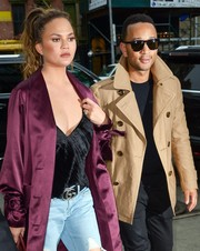 Chrissy Teigen accessorized with the celeb-favorite Gucci double-G buckle belt while out in New York City.