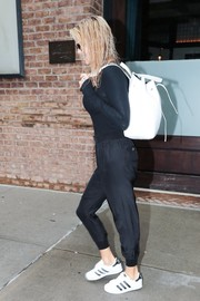 Christie Brinkley rounded out her casual look with a pair of Adidas sneakers.
