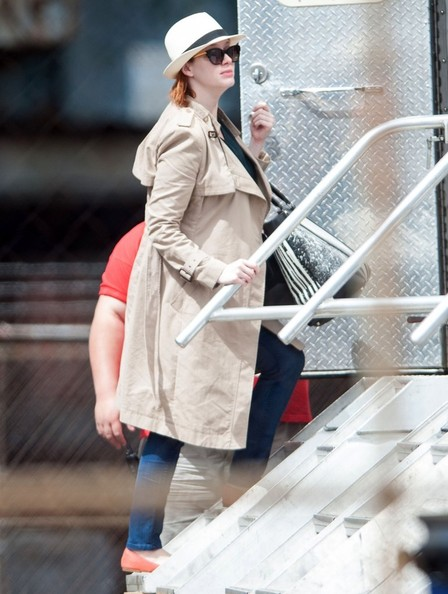 More Pics of Christina Hendricks Trenchcoat (5 of 11) - Christina Hendricks Lookbook - StyleBistro
