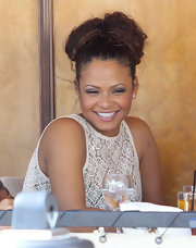 Christina Milian looked casual wearing her hair in a high looped ponytail while out having lunch in Beverly Hills.