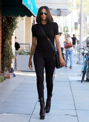 Ciara was edgy in a black-on-black tee and skinny jeans combo while strolling in Beverly Hills.