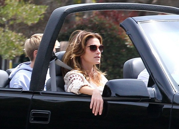 Cindy Crawford & Family Out For A Top Down Cruise In Malibu
