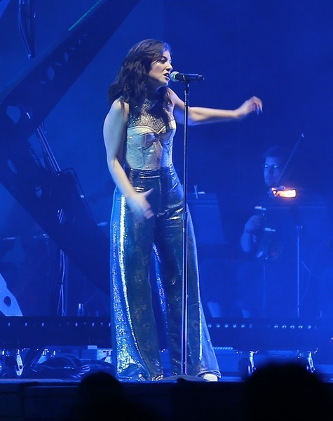 Lorde teamed her top with a pair of metallic-blue palazzo pants by Johanna Ortiz.