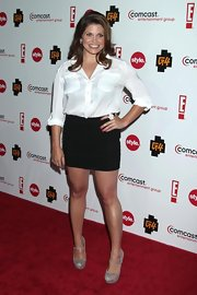At the Summer TCA cocktail party, Danielle Fishel made a basic white button-down look so hot by pairing it with a micro mini.
