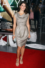 While demurely showcasing her curves in a gray sheath, Marisa Tomei upped the glamour of her look at the 'Crazy Sexy Love' premiere in gray T-strap Alcibia sandals with metallic accents.