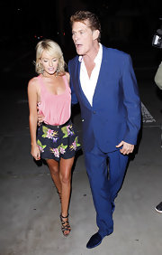 Hayley Roberts paired floral shorts with a pink tank top for an ultra-girly finish during a date with David Hasselhoff.