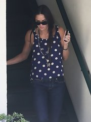 Demi Moore stepped out in this casual but chic polka dot blouse while running errands in Beverly Hills.