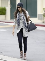 Demi Moore rocked a boho-inspired look when she wore this long cardigan and tie-dye scarf.