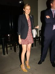 Diane Kruger dined in style with this blue blazer paired over a flirty print dress.