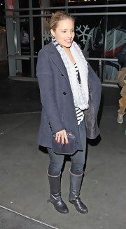 Dianna Agron wore a gray striped knit scarf while out in LA.