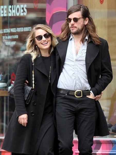 Dianna Agron accessorized with a pair of square shades while strolling in Manhattan.