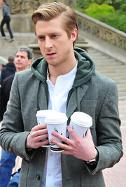 Arthur Darvill stepped out looking scruffy but still turned heads with his hair in a sleek side-parted style.