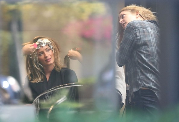 Emily Blunt Runs Into Drew Barrymore at the Hair Salon